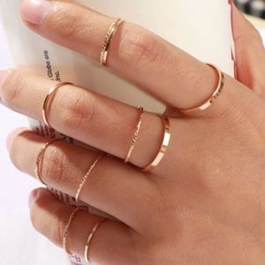 Minimalist Set of 9 Stackable Gold Band Rings